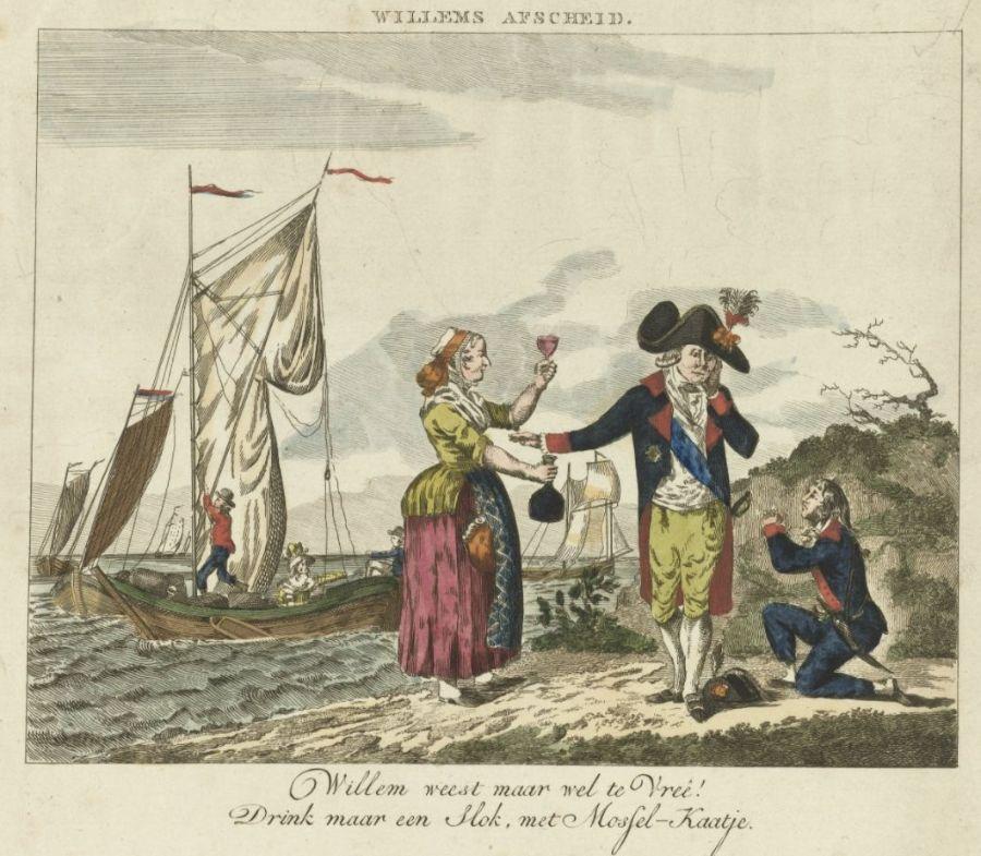 Spotprent op het vertrek van prins Willem V, 1795, anoniem, 1795. Spotprent op het vertrek van stadhouder Willem V uit Scheveningen in 1795. Rijksmuseum, Amsterdam.
