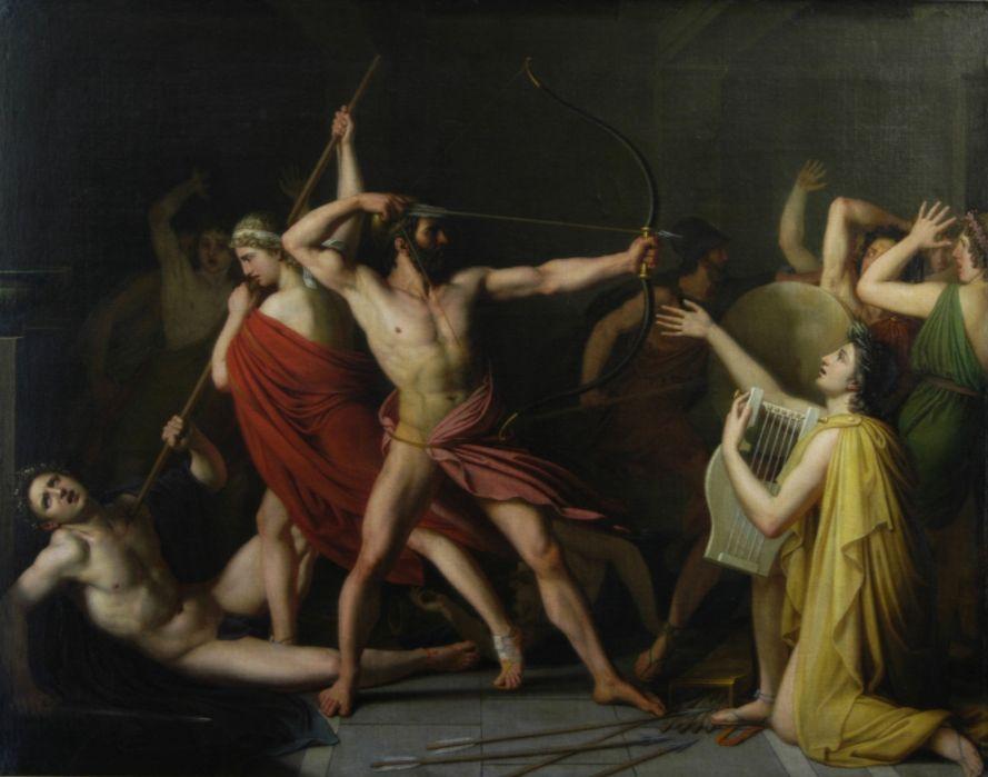 Telemachus en Odysseus nemen het op tegen de vrijers - Thomas Degeorge