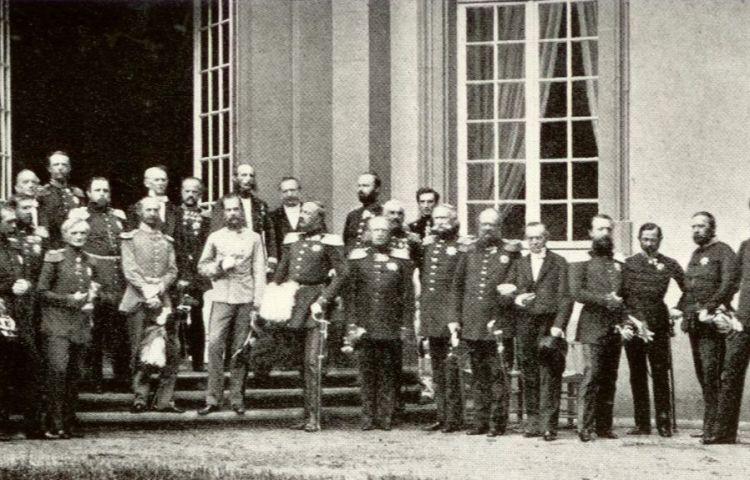 Vorsten van staten die lid waren van de Duitse bond, tijdens een bijeenkomst in Frankfurt in 1863