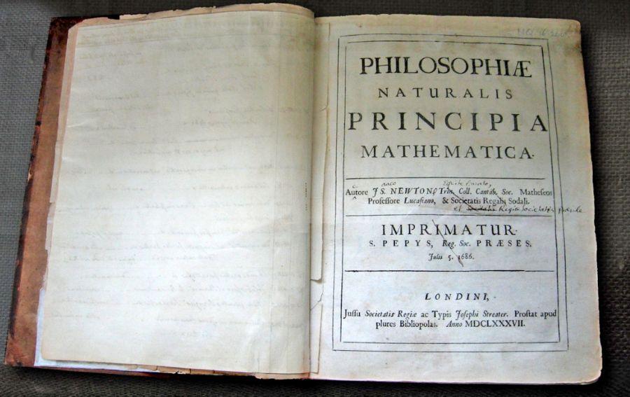 Titelpagina van Newtons 'Principia', eerste uitgave (cc - wiki)