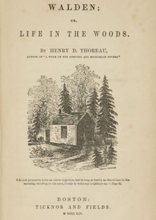 Titelpagina van 'Walden, or Life in the Woods'  (1854).
