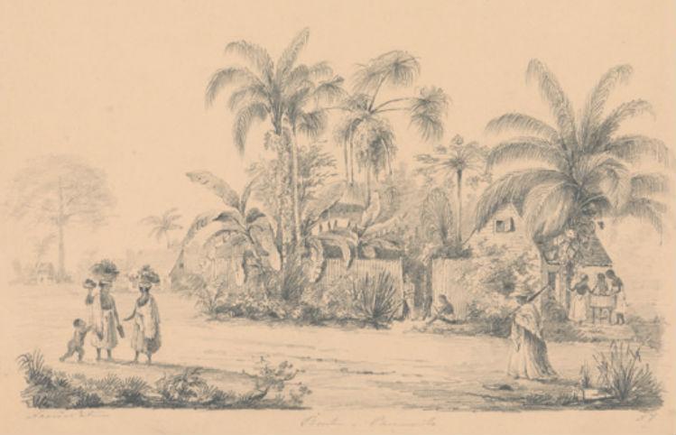 Straatgezicht net buiten Paramaribo, 1849-1851. Bron: Ketens en banden