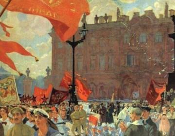 Schilderij van een activiteit van de Komintern, gemaakt door Boris Kustodiev