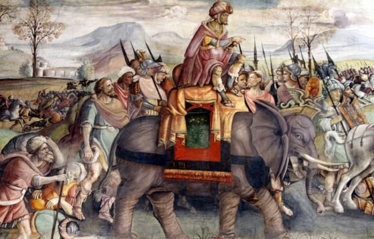 Hannibal trekt over de Alpen, detail van een fresco van ca 1510, Palazzo del Campidoglio (Capitolijns Museum), Rome