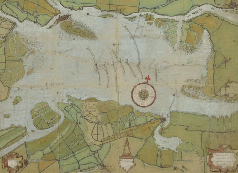 Kaart uit 1560 van de verdronken Groote Waard (de huidige Biesbosch en het Eiland van Dordrecht) door Pieter Sluyter.