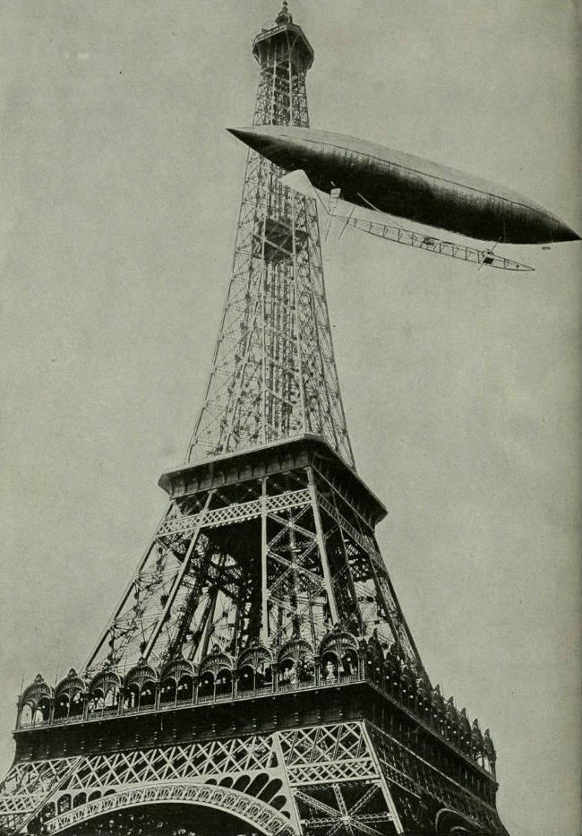 Alberto Santos-Dumont in een luchtschip bij de Eiffeltoren, 19 oktober 1901 (Wiki - Flickr - Internet Archive Book Images)
