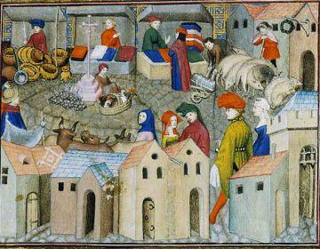 Jaarmarkt in Parijs begin 15e eeuw