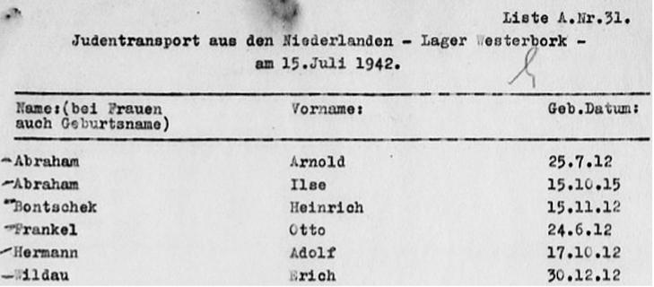 Heinz' naam op de 31ste pagina van de transportlijst van 15 juli 1942. (Rode Kruis)