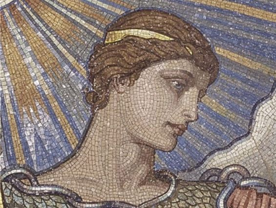 Minerva op een mozaiek in de Library of Congress (Publiek Domein - wiki)