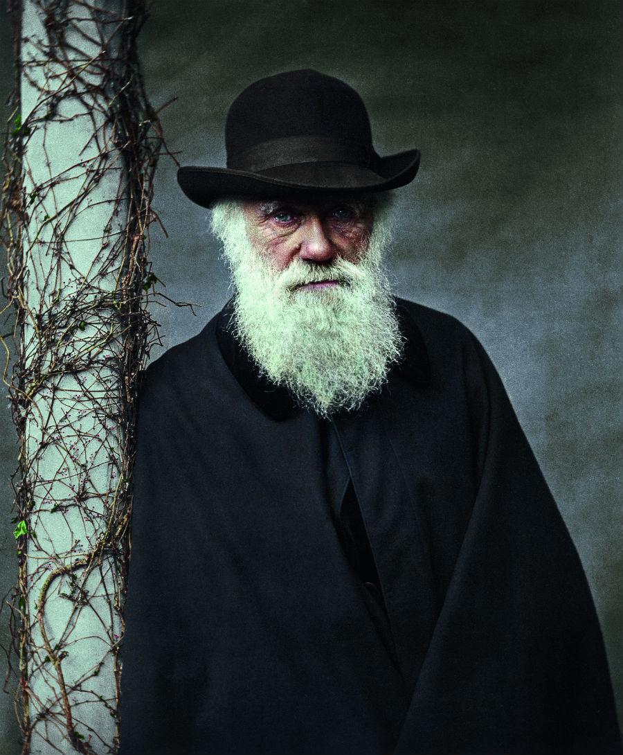 Foto van Charles Darwin - Foto uit: 'De tijd in kleur. Beelden uit de wereldgeschiedenis 1850 – 1960' - Dan Jones en Marina Amaral, Uitgeverij Omniboek
