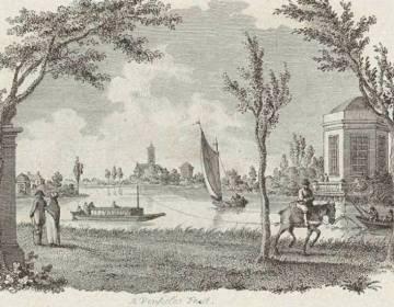 Rivierlandschap met een trekschuit - Reinier Vinkeles, ca. 1751-1816 (Publiek Domein - Europeana)
