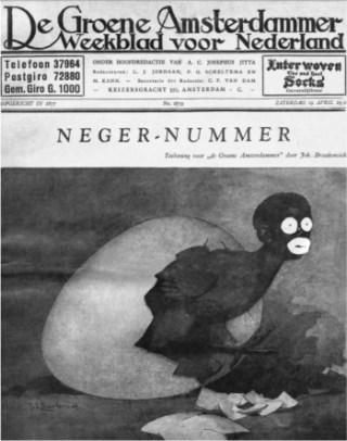 Omslag van het Neger-nummer, met tekening van Johan Braakensiek, 19 april 1930. Bron: De identiteitscrisis van Zwarte Piet
