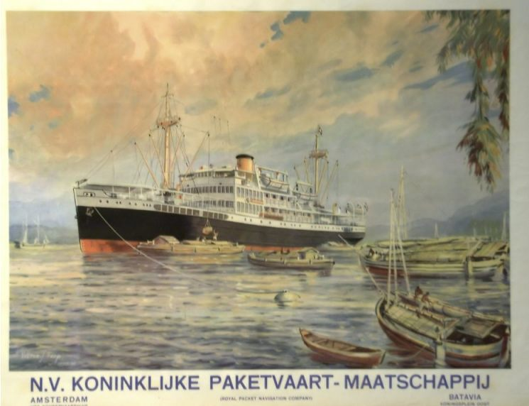 Oude poster van de Koninklijke Paketvaart Maatschappij (KPM) - CC BY-SA 2.0 / Maritiem Museum / wiki