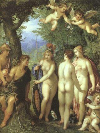 Paris heeft de appel en moet kiezen tussen Hera, Athena en Aphrodite, 1599 - Hendrick van Balen