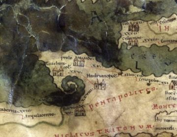 Detail van de Peutingerkaart (Publiek Domein - wiki)