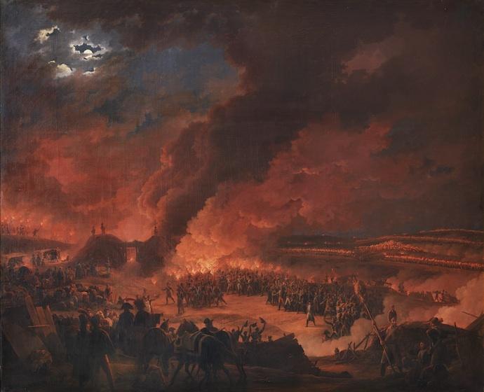 Het leger juicht Napoleon toe in de nacht voor de slag - Louis Albert Guislain Bacler d'Albe