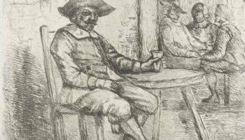 Man in een herberg - A. Schaub, 1830 - 1863 (Rijksmuseum Amsterdam)