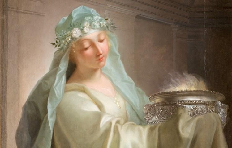 Een Vestaalse maagd met het Heilige Vuur - Jean Raoux (Publiek Domein)