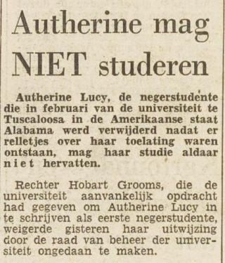 Bericht in 'Het vrije volk' van 30-08-1956 (Delpher)