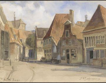 Een verlaten straat met een aantal huisjes in Hoorn (CC BY-SA 4.0 - Zuiderzeemuseum Enkhuizen)