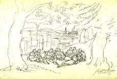 Bartolomeo Pinelli; Figures Listening to a Tale, Ensconced in a Classical Landscape; 1824; pen and black ink over graphite on laid paper; 23 x 33.1 cm; Fine Arts Museums of San Francisco