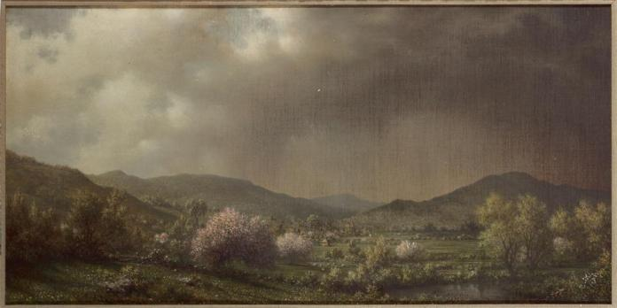 Martin Johnson Heade; Spring Shower, Connecticut Valley; 1868; 20 x 40 inches