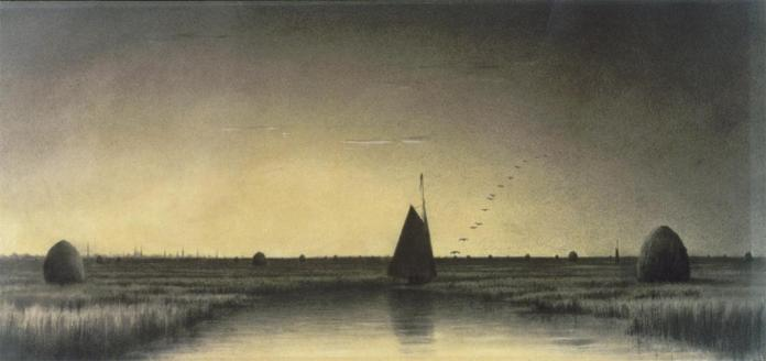 Martin Johnson Heade; Twilight on Newbury Marsh; c.1860; charcoal, white chalk on paper