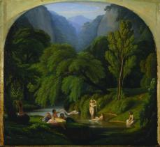 Théodore Caruelle d'Aligny; The Bathers, Souvenir of the Banks of the Anio River at Tivoli; c.1860-61; oil on wood panel; 37.5 x 41 cm; The Cleveland Museum of Art