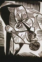 Karl Schmidt-Rottfluff; Disciples; 1918; woodcut; Grunwald Center for the Graphic Arts