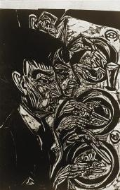 Ernst Ludwig Kirchner; Mental Patients at Dinner; 1916; woodcut