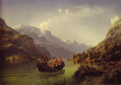 Adolph Tidemand and Hans Gude, Bridal Crossing in hardanger, 1848