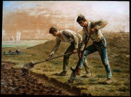 Jean-François Millet; Two Men Turning Over the Soil; 1866; pastel on paper; 69.9 x 94 cm; Museum of Fine Arts,Boston