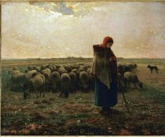 Jean-François Millet; Shepherdess with her Flock; 1858; oil on canvas; Musée d'Orsay