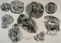 Eugène Delacroix; Feuille de neufs medailles antiques; 1825; lithograph; 22.2 x 30.9 cm; Fine Arts Museum of San Francisco