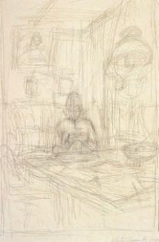 Alberto Giacometti; Annette Sewing; 1954; 51.1 x 34 cm