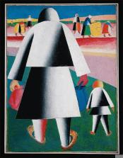 Kazimir Malevich; Harvest (Marta and Wanka); 1928-29; oil, pencil, collage on canvas; 82 x 61 cm; State Russian Museum, St. Petersburg