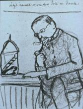 Paula Modersohn-Becker; Pictures of Family Life: Now Thank God He's Smoking Again; 1905; charcoal and pencil; 19.8 x 15.4 cm
