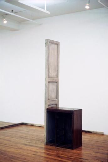 Doris Salcedo; La Casa Viuda II; 1993-4; wood, fabric, metal, and bone