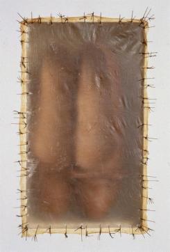Doris Salcedo; Atrabiliarios; 1993; plywood, two shoes, cow bladder, surgical thread