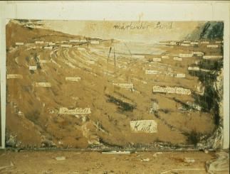 Anselm Kiefer; Sand of the March; 1982; sand on oil on canvas; 128.75 x 216.5 inches