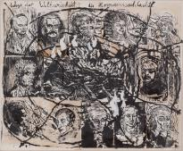 Anselm Kiefer; Ways of Worldly Wisdom: Arminius's Battle; 1978; oil on woodcut on paper mounted on canvas; 196.2 x 239.4 cm; The Museum of Modern Art