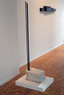 Doris Salcedo; Untitled; 1989-1993; Nine cloth shirts, plaster, steel; 66.5 x 10.5 x 16 inches