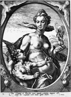 Hendrik Goltzius; Venus in Half-Length; engraving; 235 x 176 mm