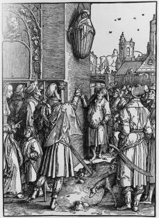 Lucas van Leyden; The Poet Virgil Suspended in a Basket; woodcut