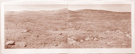 """David Clarkson Columbia Hills, Mars Diptych sepia ink on paper 2008 22"""" x 60"""""""