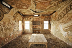 """Yusuke Asai """"Earth Painting- Blessing Dance"""" 2011, 11 kinds of soils, cow dung, ash of straw, water, straw copy"""