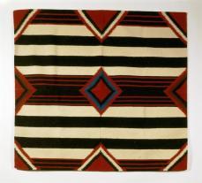 Imitation of Navajo third phase chiefs blanket, Bedding Blanket Period Modern, 1980-1990 , Wool; Dye, 144 cm x 159.5 cm x 0.5 cm