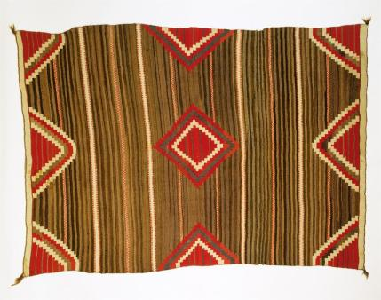 Navajo, Revival style rug. Banded layout with Moqui stripes, Early Rug Period Date, c.1895-1925, Wool; Dye, 226.5 cm x 155 cm x 0.4 cm