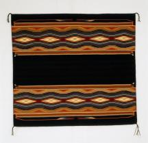 """Kalley Keams, Navajo Weaving, """"Autumn Snow"""", 2001, Wool, 113 cm x 125 cm, Peabody Museum of Archaeology and Ethnology Wool; Dye, Peabody Museum of Archaeology and Ethnology"""