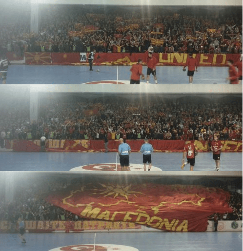 pano2 Outrageous Provocation: Irredentist Banner exhibited by FYROMs fans at International Handball match